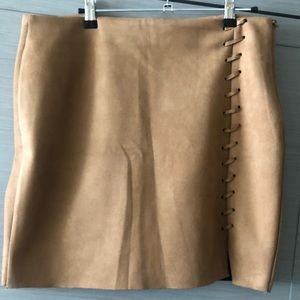 Misguided Tan Faux Suede Skirt - Size 10.